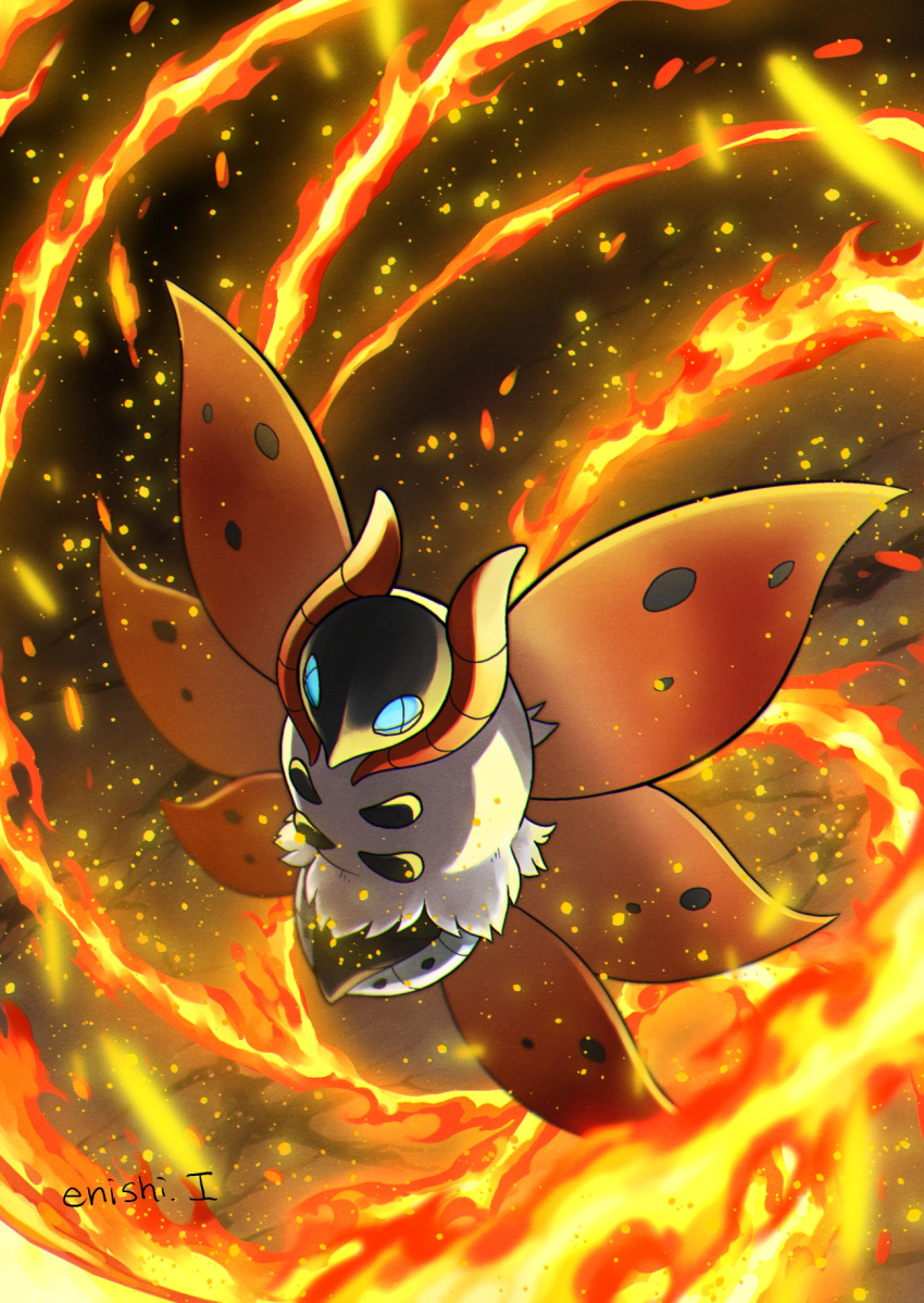 artist_name blue_eyes bug commentary_request enishi_(menkura-rin10) fire from_above gen_5_pokemon highres insect moth no_humans pokemon pokemon_(creature) solo volcarona watermark white_fur