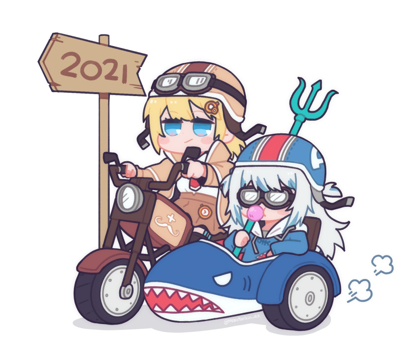 2021 2girls bangs blonde_hair blue_eyes blue_hair bubble_blowing chewing_gum driving gawr_gura goggles ground_vehicle hair_ornament highres hololive hololive_english hood hoodie long_sleeves medium_hair monocle_hair_ornament motor_vehicle motorcycle multicolored_hair multiple_girls necktie nekotaririn polearm red_neckwear shirt sidecar silver_hair streaked_hair trident virtual_youtuber watson_amelia weapon white_shirt