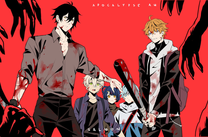1girl 4boys backpack bag bandages bandaid bandaid_on_face bandaid_on_nose bangs bat bennett_(genshin_impact) black_hair blood blood_on_face blood_stain bloody_clothes bloody_hands bloody_weapon blue_eyes blue_hair braid chongyun_(genshin_impact) closed_mouth collar collared_shirt english_text genshin_impact green_eyes hair_between_eyes hair_ornament hair_rings hairclip hands highres holding holding_weapon hood hood_down hoodie jacket long_sleeves looking_at_viewer male_focus multiple_boys open_mouth orange_hair shirt short_hair simple_background smile sushisalmon95 sweater tartaglia_(genshin_impact) turtleneck turtleneck_sweater two-handed weapon white_hair xiangling_(genshin_impact) yellow_eyes zhongli_(genshin_impact)