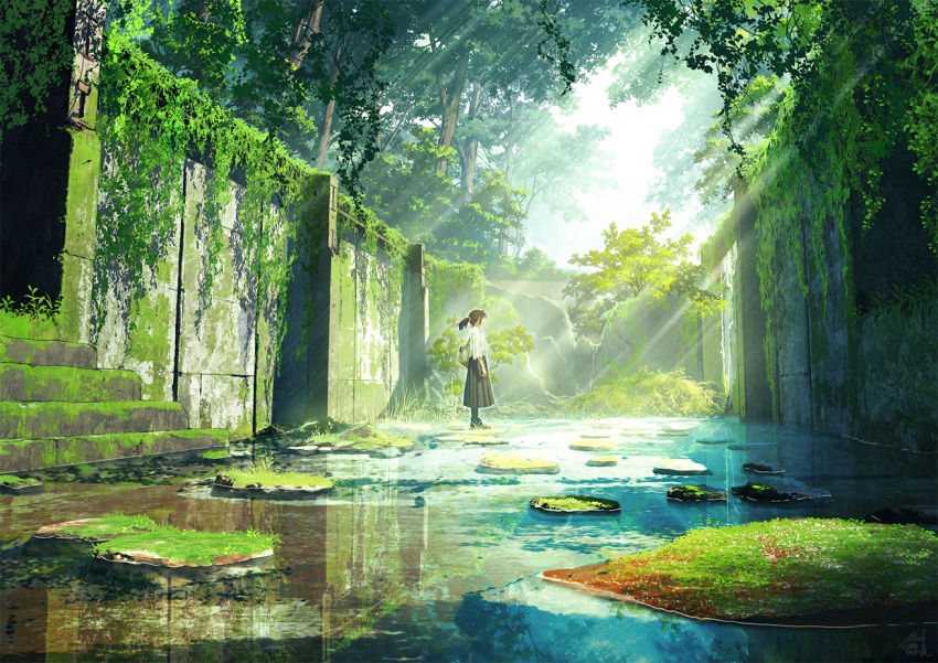 1girl bag black_hair black_skirt commentary_request day facing_away forest mocha_(cotton) nature original outdoors overgrown pleated_skirt ponytail ruins scenery shirt short_sleeves skirt solo stairs standing stone_stairs sunlight tree water white_shirt
