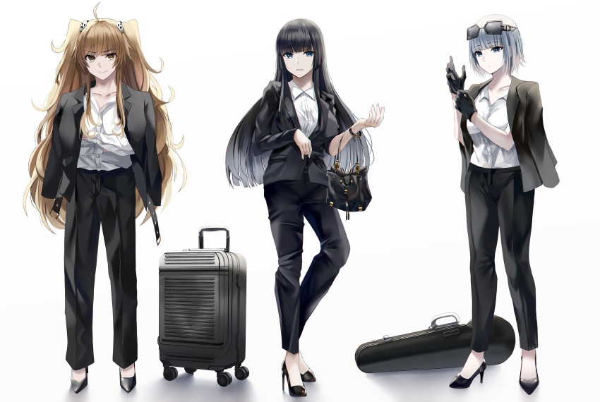 >:) 3girls adjusting_clothes adjusting_gloves ahoge bag bangs belt black_footwear black_gloves black_hair black_jacket black_pants black_suit blue_eyes blunt_bangs bob_cut bracelet brown_eyes closed_mouth collarbone collared_shirt contrapposto crossed_arms dress_shirt english_commentary eyebrows_visible_through_hair eyelashes eyewear_on_head formal full_body gloves grey_hair hair_ornament handbag high_heels highres hime_cut jacket jacket_on_shoulders jewelry light_brown_hair long_hair long_sleeves looking_at_viewer looking_away luggage multiple_girls nicky_w open_clothes open_collar open_jacket original pant_suit pants parted_lips rolling_suitcase shiny shiny_hair shirt shirt_tucked_in short_hair short_sleeves simple_background skull_hair_ornament smile standing stiletto_heels straight_hair suit suitcase sunglasses swept_bangs tsurime v-shaped_eyebrows violin_case wavy_hair white_shirt wing_collar