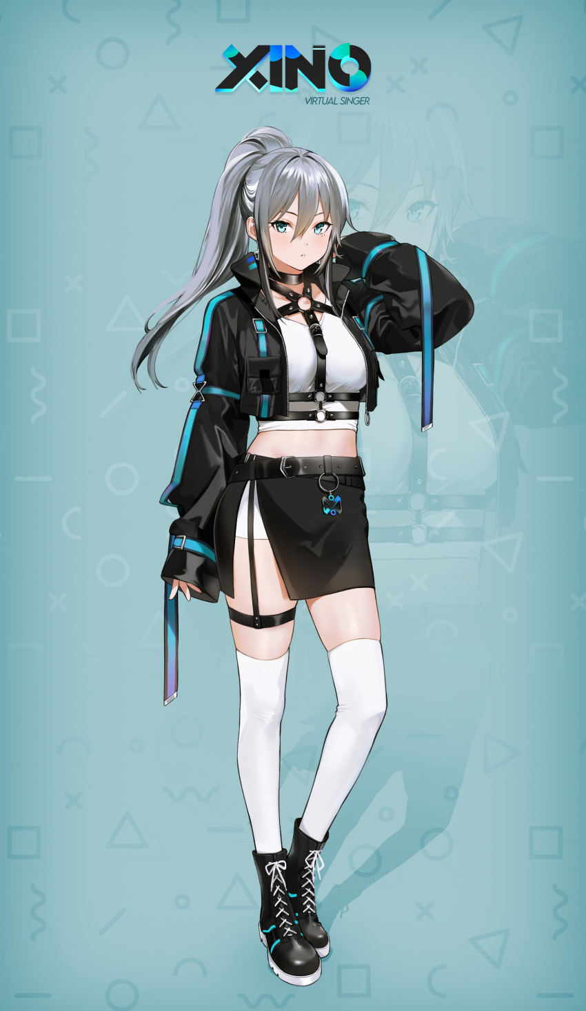 1girl absurdres arm_up bangs belt black_belt black_footwear black_jacket black_skirt blue_background blue_eyes blush boots breasts character_name choker collar collared_jacket commentary_request crop_top cropped_jacket cross cross_earrings ear_piercing earrings english_commentary grey_hair hair_between_eyes highres jacket jewelry long_hair long_sleeves looking_at_viewer medium_breasts mery_(yangmalgage) mixed-language_commentary open_clothes parted_lips piercing pocket ponytail ruvixia shoelaces sidelocks simple_background skirt solo standing thigh-highs thigh_strap virtual_youtuber white_legwear xino_(ruvixia)