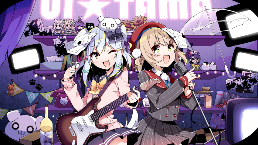 1boy 5girls arato_asato character_doll character_request commentary_request electric_guitar fang guitar highres indie_virtual_youtuber instrument inuyama_tamaki looking_at_viewer microphone multiple_girls music one_eye_closed open_mouth otoko_no_ko roki_(vocaloid) shigure_ui_(vtuber) singing television umbrella virtual_youtuber