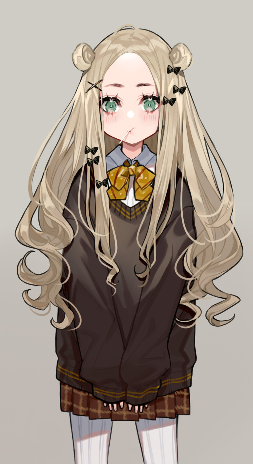 1girl abigail_williams_(fate/grand_order) absurdres bangs black_bow blonde_hair blue_eyes blush bow bowtie brown_skirt candy collar commentary curly_hair double_bun english_commentary fate/grand_order fate_(series) food food_in_mouth forehead hair_bow hair_bun highres lollipop long_hair long_sleeves looking_at_viewer pantyhose parted_bangs school_uniform sidelocks skirt sleeves_past_wrists solo standing sweater white_legwear yellow_bow yuu_(higashi_no_penguin)