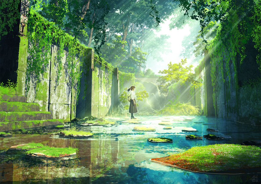 1girl bag black_hair black_skirt commentary_request day facing_away forest mocha_(cotton) nature original outdoors overgrown pleated_skirt ponytail revision ruins scenery shirt short_sleeves skirt solo stairs standing stone_stairs sunlight tree water white_shirt