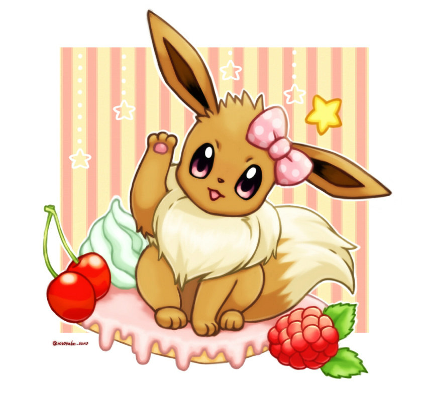 :3 animal_focus artist_name border bow cherry commentary eevee food fruit gen_1_pokemon hair_bow hand_up happy highres in_food looking_at_viewer no_humans open_mouth outline pawpads pink_bow pokemon pokemon_(creature) polka_dot polka_dot_bow raspberry rorosuke smile solo star_(symbol) straight-on striped striped_background tilted_headwear twitter_username violet_eyes whipped_cream white_border white_outline