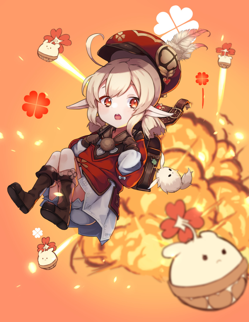 1girl ahoge backpack bag bag_charm bangs blonde_hair blush boots brown_footwear brown_gloves cabbie_hat charm_(object) clover commentary_request dodoco_(genshin_impact) dress explosion eyebrows_behind_hair full_body genshin_impact gloves hair_between_eyes hat hat_feather highres jumpy_dumpty klee_(genshin_impact) knee_boots long_hair long_sleeves looking_to_the_side low_twintails monukeke open_mouth orange_background pointy_ears red_dress red_eyes red_headwear sidelocks solo_focus twintails upper_teeth vision_(genshin_impact) white_dress white_feathers