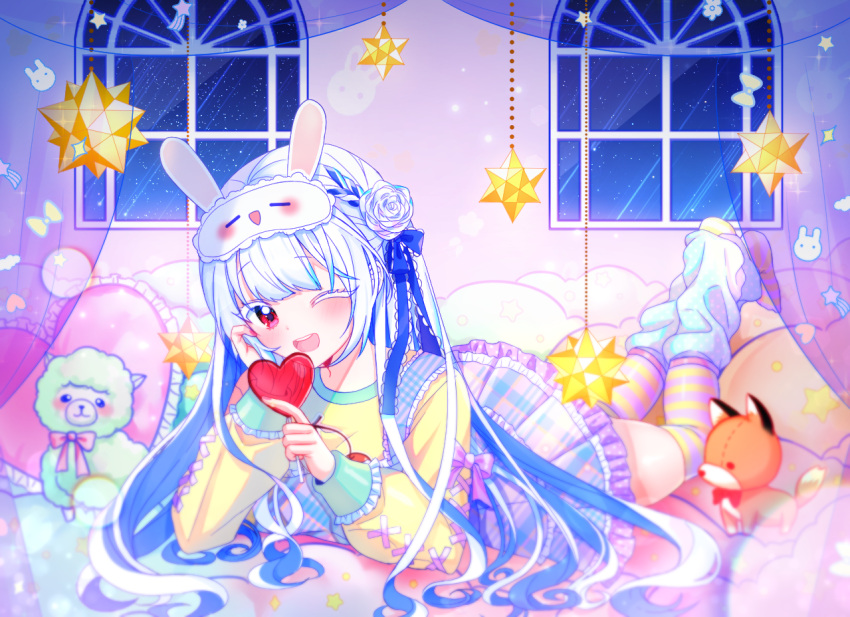 1girl ;d bangs blue_hair blush candy colored_eyelashes curtains eyebrows_visible_through_hair falling_star flower food frilled_skirt frills full_body hair_flower hair_ornament heart_lollipop holding holding_candy holding_food holding_lollipop indoors legs_up lollipop long_hair long_sleeves looking_at_viewer lying mamel_27 mask mask_on_head multicolored_hair night night_sky on_stomach one_eye_closed open_mouth original plaid plaid_skirt pleated_skirt puffy_long_sleeves puffy_sleeves red_eyes rose shirt skirt sky sleep_mask smile solo star_(sky) starry_sky streaked_hair striped striped_legwear stuffed_alpaca stuffed_animal stuffed_fox stuffed_toy thigh-highs transparent upper_teeth very_long_hair white_flower white_hair white_rose window yellow_shirt