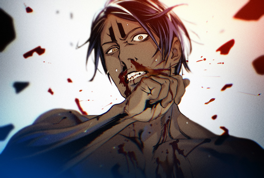 1boy bangs black_hair blood blood_splatter brown_eyes clenched_teeth collarbone dark_skin dark_skinned_male golden_kamuy koito_otonoshin looking_at_viewer male_focus nosebleed nude parted_bangs raised_eyebrows short_hair simple_background solo sweat teeth toned toned_male upper_body w55674570w