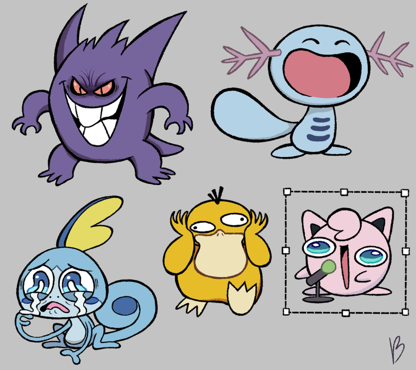 :d ^_^ animal_ears aqua_eyes artist_name blue_skin blush_stickers bright_pupils closed_eyes colored_sclera colored_skin commentary creature crying crying_with_eyes_open disconnected_mouth english_commentary full_body gen_1_pokemon gen_2_pokemon gen_6_pokemon gen_8_pokemon gengar grey_background grin half-closed_eyes jigglypuff looking_at_another looking_at_viewer microphone music nintendo no_humans open_mouth pink_sclera pokemon pokemon_(creature) psyduck purple_skin roxlyn166 signature simple_background singing smile sobble standing tail tears wall-eyed white_pupils wooper yellow_skin