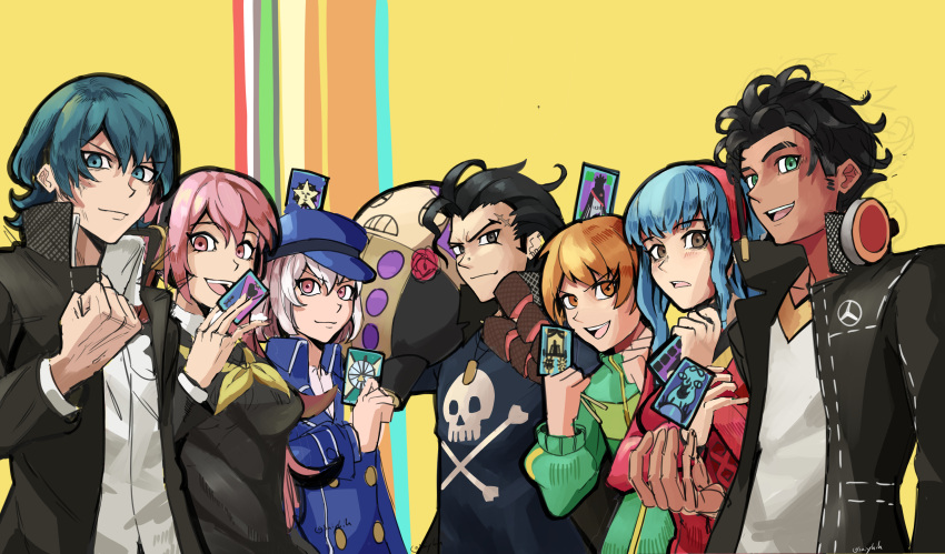 1other 3boys 4girls absurdres alternate_costume alternate_hairstyle amagi_yukiko amagi_yukiko_(cosplay) atlus balthus_von_albrecht black_eyes black_hair black_jacket black_shirt blue_eyes blue_hair blue_headwear blush breasts brown_eyes buttons byleth_(fire_emblem) byleth_eisner_(male) byleth_eisner_(male) cabbie_hat card cardigan claude_von_riegan closed_mouth commentary cosplay crossover dark_skin dark_skinned_male english_commentary eyebrows_visible_through_hair fire_emblem fire_emblem:_three_houses fire_emblem:_three_houses fire_emblem_16 floating floating_object flower golden_deers green_eyes green_jacket hair_between_eyes hair_ornament hairband hanamura_yousuke hanamura_yousuke_(cosplay) hat headphones headphones_around_neck highres hilda_valentine_goneril holding holding_card intelligent_systems jacket kujikawa_rise kujikawa_rise_(cosplay) kuma_(persona_4) leonie_pinelli looking_at_viewer lorenz_hellman_gloucester lorenz_hellman_gloucester_(cosplay) lysithea_von_ordelia male_my_unit_(fire_emblem:_three_houses) marianne_von_edmund medium_breasts megami_tensei multiple_boys multiple_girls my_unit_(fire_emblem:_three_houses) narukami_yuu narukami_yuu_(cosplay) nintendo open_clothes open_jacket open_mouth orange_eyes orange_hair parody persona persona_4 pink_eyes pink_hair red_cardigan red_flower red_hairband red_rose rose saiykik satonaka_chie satonaka_chie_(cosplay) scar scar_on_face school_uniform sega shin_megami_tensei shirogane_naoto shirogane_naoto_(cosplay) shirt short_hair smile super_smash_bros. tatsumi_kanji tatsumi_kanji_(cosplay) teeth tiara twintails twitter_username uniform white_hair white_shirt yasogami_school_uniform
