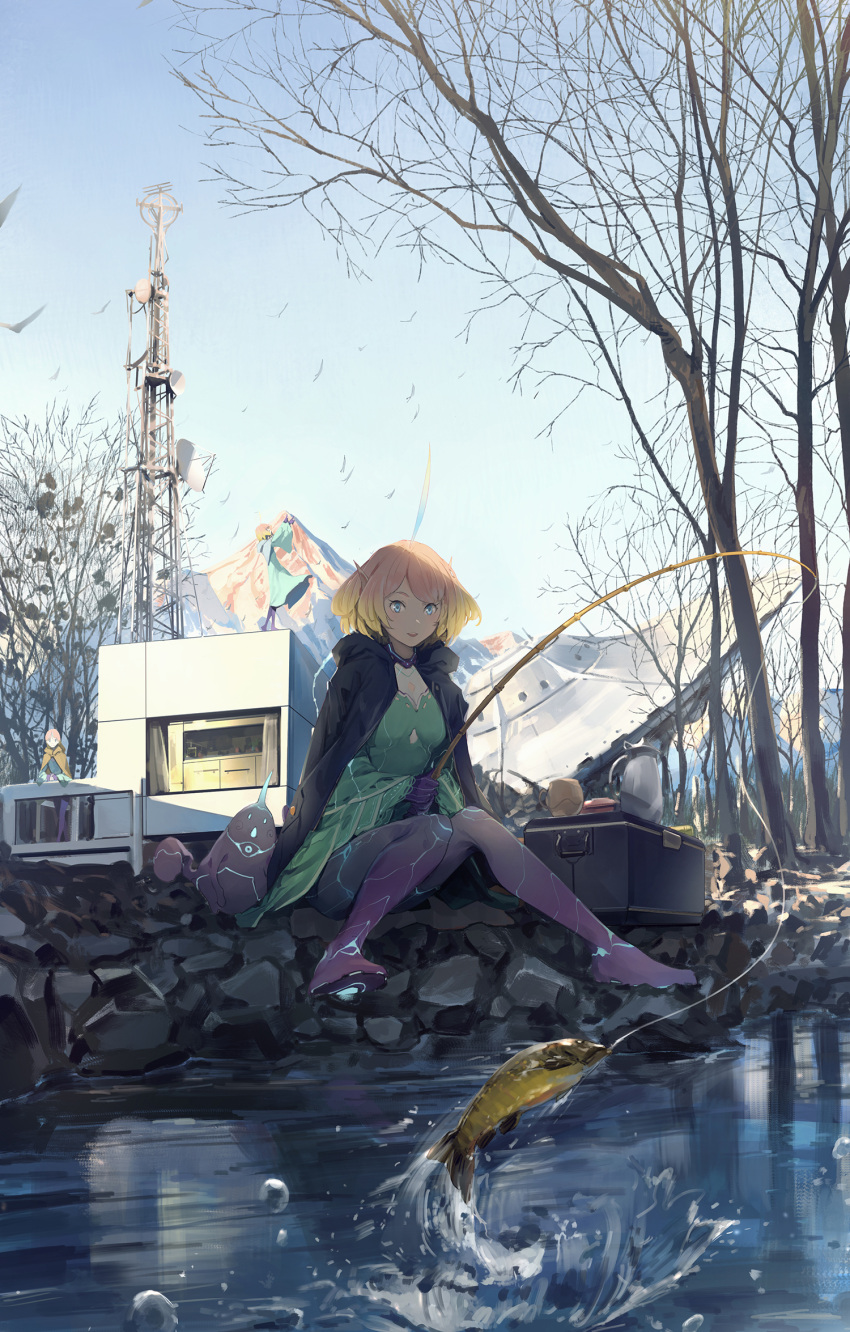 1girl :d alien bare_tree black_cape blonde_hair blue_sky bodysuit breasts cape commentary_request crash cup day fish fishing fishing_rod flying_saucer gradient_hair green_bodysuit highres hood hood_down hooded_cape legs_together long_sleeves medium_breasts medium_hair mountain multicolored multicolored_bodysuit multicolored_clothes multicolored_hair open_mouth orange_hair original outdoors pointy_ears purple_bodysuit river rock sitting sky smile solo_focus somehira_katsu space_craft suitcase transmission_tower tree ufo wide_sleeves