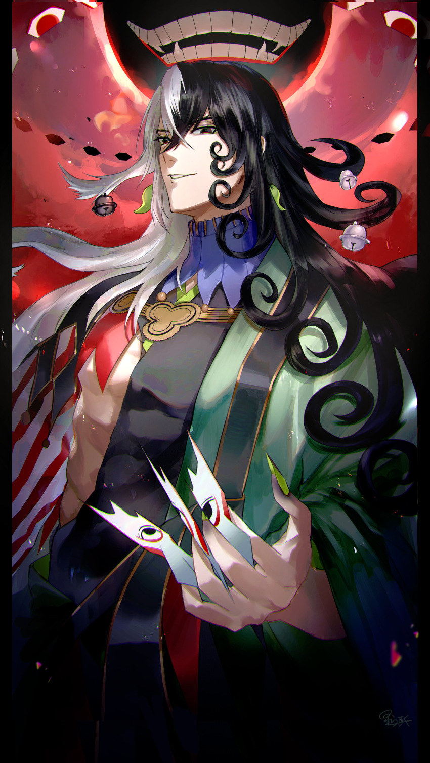 1boy abs absurdres akimitsu-dono ashiya_douman_(fate) asymmetrical_clothes asymmetrical_hair bell black_eyes black_hair covered_abs cowboy_shot curly_hair earrings extra_eyes fate/grand_order fate_(series) fingernails floating giant giant_monster green_eyeshadow green_kimono green_lipstick green_nails hair_bell hair_between_eyes hair_intakes hair_ornament highres hoshi_rasuku japanese_clothes jewelry kimono lipstick long_hair magatama magatama_earrings makeup male_focus monster multicolored_hair open_clothes open_kimono pectorals ribbed_sleeves sharp_fingernails shikigami solo toned toned_male two-tone_hair very_long_fingernails very_long_hair white_hair