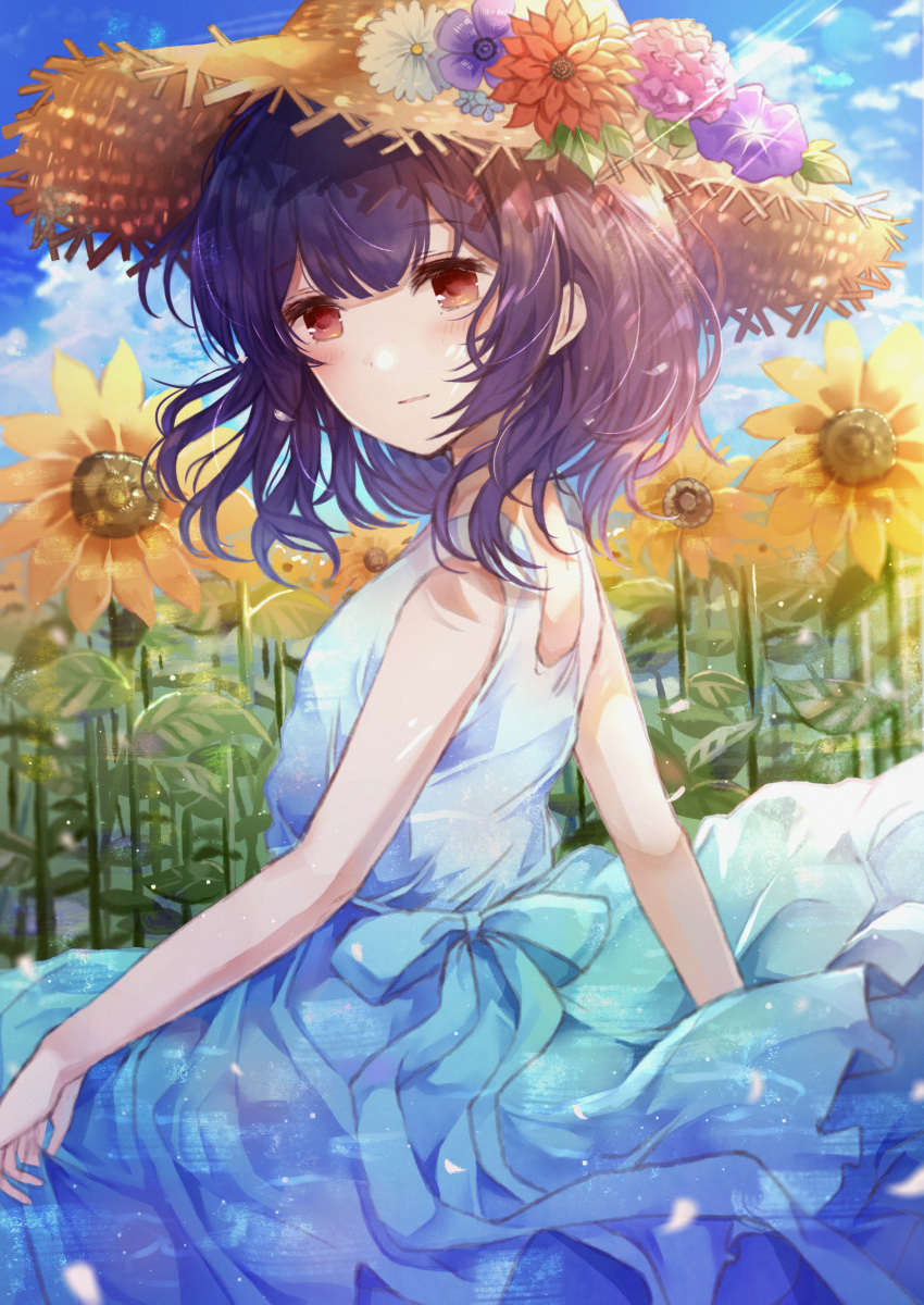 1girl absurdres blue_dress blue_sky blush curtsey day dress dress_lift eyebrows_visible_through_hair field flower flower_field hair_between_eyes hair_flower hair_ornament hat highres huge_filesize idolmaster idolmaster_shiny_colors looking_at_viewer looking_to_the_side medium_hair morino_rinze multicolored multicolored_clothes multicolored_dress namamake open_mouth outdoors pinafore_dress purple_hair red_eyes revision sidelocks sky solo standing straw_hat sundress sunflower white_dress