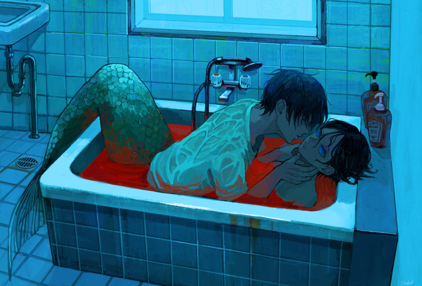 2boys bathroom bathtub black_eyes black_hair blood bloody_clothes blue_eyes bottle closed_mouth drain_(object) fingernails hands_on_another's_neck highres indoors looking_at_another male_focus merman monster_boy multiple_boys original parted_lips partially_submerged scales shida_7 sink slit_pupils tile_floor tile_wall tiles wet wet_clothes window