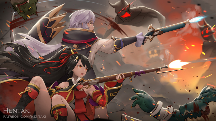 2girls bandaged_arm bandages bangs bare_shoulders black_cape black_footwear black_gloves black_hair boots cape commentary detached_sleeves dragalia_lost english_commentary eyebrows_visible_through_hair fingerless_gloves firing gloves gun hair_between_eyes hentaki holding holding_gun holding_weapon knee_boots long_hair long_sleeves looking_away looking_to_the_side monster multiple_girls nobunaga_(dragalia_lost) open_mouth outdoors ponytail puffy_long_sleeves puffy_sleeves red_eyes red_gloves rifle shirt silver_hair smoke v-shaped_eyebrows very_long_hair weapon white_shirt wide_sleeves yellow_eyes yoshitsune_(dragalia_lost)