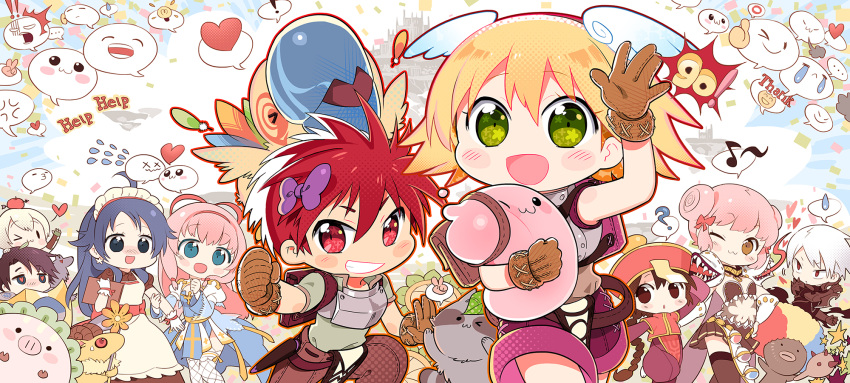 ! >3< ... 4boys 5girls :3 ? afro ahoge anger_vein animal apple apple_o_archer apron archbishop_(ragnarok_online) arm_blade armor backpack bag bangs baphomet_jr bird black_eyes blonde_hair blue_dress blue_eyes blue_hair blush braid braided_ponytail breastplate brown_dress brown_gloves brown_hair brown_legwear brown_pants brown_shorts brown_skirt castle character_request chest_guard chibi choker cleavage_cutout clenched_hand clipboard closed_mouth clothing_cutout collared_shirt commentary_request confetti cowboy_shot cross crying dark_skin demon double_bun dress earrings emoticon eyebrows_visible_through_hair eyes_visible_through_hair fake_wings feathers fishnet_legwear fishnets flower food frilled_sleeves frills fruit gauntlets genetic_(ragnarok_online) geographer_(ragnarok_online) gloom_(expression) gloves goat green_eyes green_gloves green_shirt grin guillotine_cross_(ragnarok_online) hair_between_eyes hair_ribbon hat head_wings heart heart-shaped_pupils help highres holding holding_clipboard holding_flower jewelry jiangshi kafra_uniform laughing leaf leaf_on_head light_bulb long_hair long_sleeves looking_at_viewer maid maid_headdress mao_yu mouth_hold multicolored_hair multiple_boys multiple_girls munak musical_note nervous novice_(ragnarok_online) o3o one_eye_closed open_mouth oversized_animal pants pauldrons pavianne_(ragnarok_online) peco_peco pig pink_hair plant popped_collar poring potion puffy_short_sleeves puffy_sleeves pulling qing_guanmao raccoon ragnarok_online ranger_(ragnarok_online) red_armor red_eyes red_ribbon red_vest redhead ribbon royal_guard_(ragnarok_online) sash savage_babe scabbard sheath shield shirt short_hair short_sleeves shorts shoulder_armor skirt slime_(creature) smile smokie_(ragnarok_online) smug solid_oval_eyes spiky_hair spoken_ellipsis spoken_exclamation_mark spoken_heart spoken_light_bulb spoken_musical_note spoken_o spoken_question_mark spoken_sweatdrop star_(symbol) star_earrings sweat sweatdrop symbol-shaped_pupils teeth thank