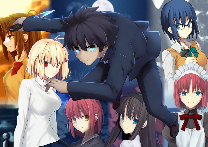 1boy 6+girls ahoge apron aqua_eyes arcueid_brunestud black_dress black_hair black_hairband black_kimono blonde_hair blue_bow blue_eyes blue_hair blue_jacket blue_pants bow bowtie breasts brown_eyes brown_hair buttons ciel_(tsukihime) closed_mouth clouds collared_shirt commentary_request crying crying_with_eyes_open dh_ead dress eyebrows_visible_through_hair glasses green_bow green_eyes hair_between_eyes hair_bow hairband hammer highres hisui_(tsukihime) holding holding_hammer holding_knife holding_weapon jacket japanese_clothes jewelry juliet_sleeves kimono knife kohaku_(tsukihime) large_breasts long_hair long_sleeves looking_at_viewer looking_away maid maid_apron maid_headdress medium_breasts moon multiple_girls neck_ribbon necklace pants puffy_sleeves red_bow red_eyes red_ribbon redhead ribbon school_uniform shirt short_hair siblings sisters sitting skirt sky smile sunset sweater sweater_vest tears tohno_akiha tohno_shiki tsukihime tsukihime_(remake) turtleneck turtleneck_sweater twins two_side_up uniform vampire weapon white_dress white_shirt white_sweater yellow_eyes yellow_sweater yumizuka_satsuki