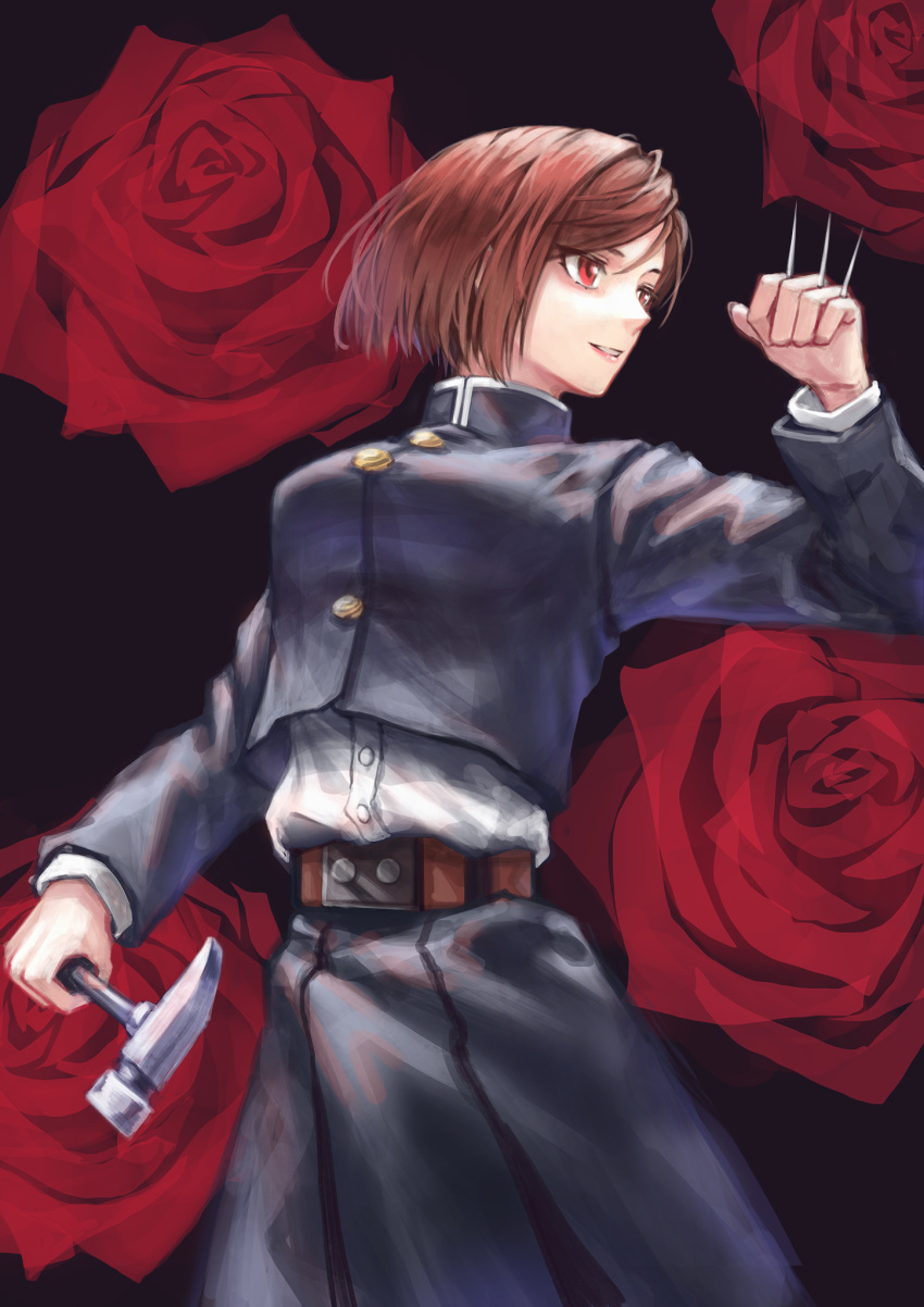 1girl belt black_background brown_belt brown_hair flower hammer highres holding holding_hammer holding_weapon jujutsu_kaisen kugisaki_nobara level9kaito nail parted_lips red_eyes red_flower red_rose rose short_hair smile solo turtleneck weapon