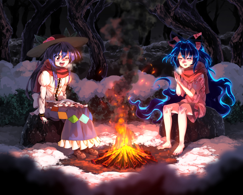 2girls barefoot black_headwear blue_hair blue_skirt blush breath brown_footwear campfire closed_eyes cold commentary commission debt dirty dirty_feet drawstring dress food fruit grey_hoodie hat highres hinanawi_tenshi hood hood_down hoodie juliet_sleeves layered_dress leaf long_hair long_skirt long_sleeves looking_down miniskirt multiple_girls night one_eye_closed open_mouth outdoors own_hands_together peach puffy_sleeves red_eyes red_scarf scarf sidelocks sitting sitting_on_rock skirt smile smoke snow sunyup touhou tree under_tree upper_teeth very_long_hair winter yorigami_shion