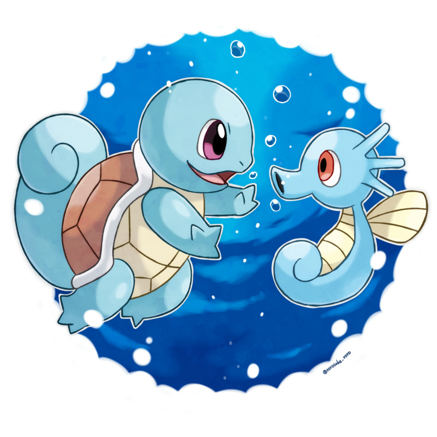 animal_focus artist_name blue_background border bubble commentary_request creatures_(company) eye_contact from_side full_body game_freak gen_1_pokemon grey_outline happy highres horsea looking_at_another nintendo no_humans open_mouth outline outside_border pokemon pokemon_(creature) profile red_eyes rorosuke shell smile squirtle twitter_username underwater violet_eyes white_border