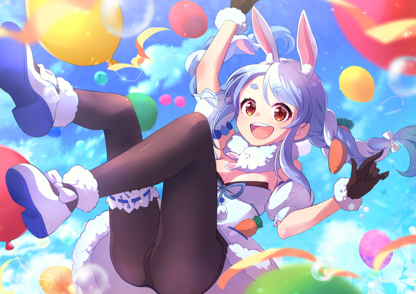 1girl :d absurdres animal_ear_fluff animal_ears ass balloon bangs black_gloves black_legwear blue_hair blue_sky blurry blurry_foreground braid breasts bubble carrot carrot_hair_ornament clouds cloudy_sky day depth_of_field dress eriko eyebrows_visible_through_hair floating food_themed_hair_ornament fur-trimmed_dress fur-trimmed_footwear fur-trimmed_gloves fur_scarf fur_trim garters gloves hair_ornament highres hololive long_hair looking_at_viewer multicolored_hair off-shoulder_dress off_shoulder open_mouth outdoors pantyhose rabbit_ears red_eyes scarf short_dress short_sleeves shorts sky small_breasts smile solo sparkle swept_bangs thick_eyebrows twin_braids twintails two-tone_hair usada_pekora virtual_youtuber white_dress white_hair white_scarf white_shorts