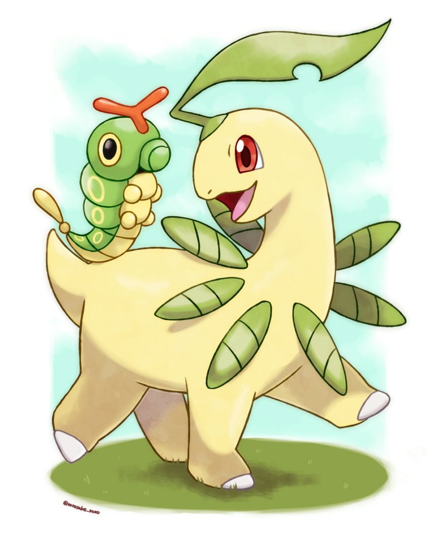animal_focus artist_name bayleef black_eyes blue_sky border caterpie colored_sclera commentary_request day full_body gen_1_pokemon gen_2_pokemon grass happy highres looking_at_another looking_back no_humans open_mouth outdoors outside_border pokemon pokemon_(creature) red_eyes riding rorosuke sky smile twitter_username walking white_border yellow_sclera