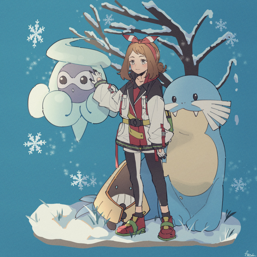 1girl alternate_costume arm_at_side bangs bare_tree black_legwear blush bow_hairband brown_hair castform castform_(snowy) closed_mouth coat commentary_request gen_3_pokemon gloves grass grey_eyes hairband hari611 highres leggings long_sleeves may_(pokemon) medium_hair pokemon pokemon_(creature) pokemon_(game) pokemon_oras red_hairband sealeo shoes snorunt snow snowflakes socks standing tree