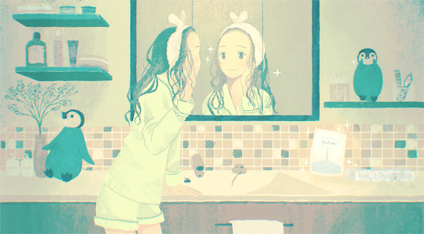 1girl animal bathroom brown_eyes comb eyewear_removed indoors long_hair looking_at_mirror mask mirror original pink_headwear scenery shelf shirt shorts sink soap_bottle solo standing tabisumika towel white_shirt