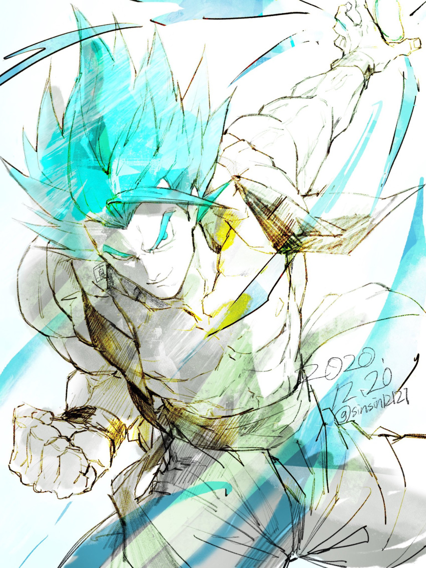 1boy abs aura blue_eyes blue_hair dated dragon_ball dragon_ball_super dragon_ball_super_broly dragon_ball_z gogeta highres male_focus metamoran_vest muscular muscular_male pants pectorals sash shin_(sinsin12121) smile solo spiky_hair super_saiyan super_saiyan_blue twitter_username wristband