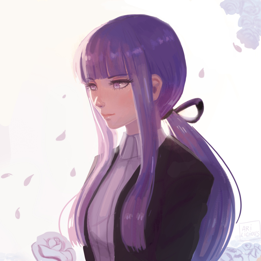 1girl absurdres alternate_hairstyle artist_name bangs black_jacket black_ribbon blunt_bangs blush closed_mouth commentary danganronpa_(series) danganronpa_3_(anime) dated_commentary eyebrows_visible_through_hair flower from_side hair_ribbon highres jacket kirigiri_kyouko long_hair long_sleeves looking_to_the_side missarilicious official_alternate_costume petals ponytail purple_hair ribbon rose sidelocks smile solo upper_body violet_eyes white_flower white_rose