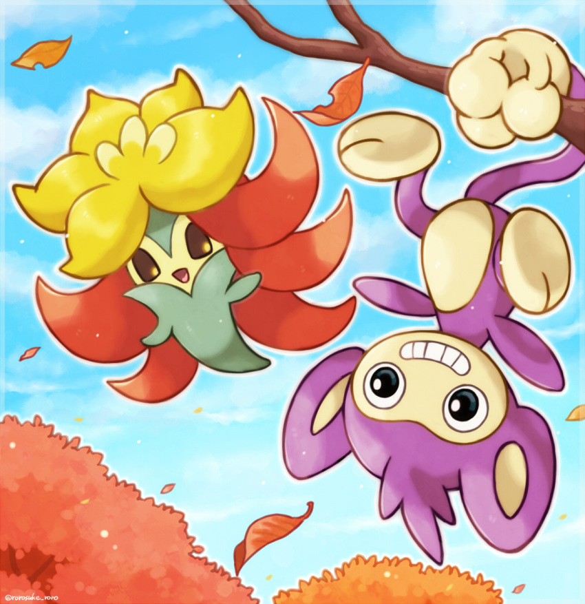 aipom animal_focus artist_name autumn_leaves black_eyes blue_sky brown_sclera clouds colored_sclera commentary_request day floating gen_2_pokemon gen_8_pokemon gossifleur grin hanging happy highres leaf looking_at_viewer looking_to_the_side no_humans open_mouth outdoors outline pokemon pokemon_(creature) prehensile_tail rorosuke sky smile tail teeth tree twitter_username upside-down white_outline yellow_eyes