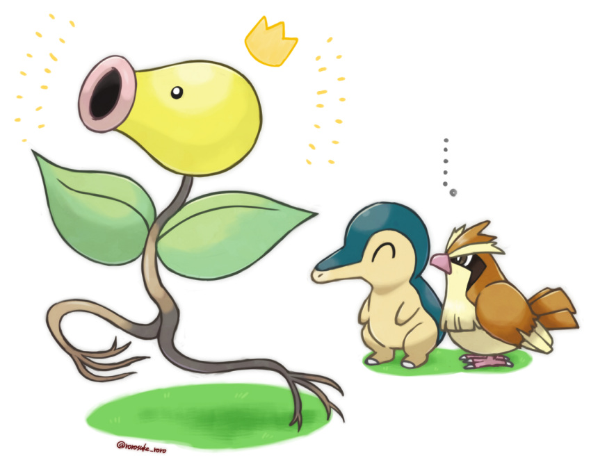 ... ^_^ artist_name bellsprout bird black_eyes brown_eyes closed_eyes commentary_request creatures_(company) crown cyndaquil full_body game_freak gen_1_pokemon gen_2_pokemon grass grey_outline nintendo outline pidgey pokemon pokemon_(creature) rorosuke running standing twitter_username