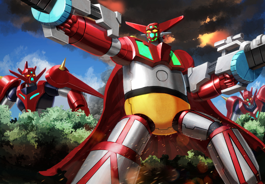 dual_wielding embers explosion forest getter-1 getter_dragon getter_robo glowing glowing_eyes gun highres holding holding_gun holding_weapon looking_ahead looking_to_the_side mecha moyashi_(karamisouma) nature shin_getter_robo smoke solo_focus super_robot tree weapon yellow_eyes