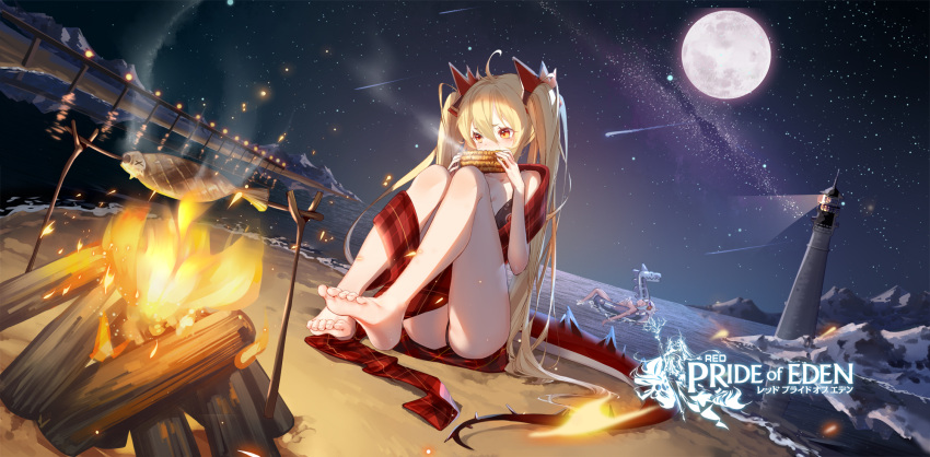 bare_legs barefoot bikini black_bikini blonde_hair butt_crack campfire character_request clouble dragon_tail eating feet full_body highres lighthouse long_hair long_scarf moon night official_art red:_pride_of_eden redhead scarf soles swimsuit swimwear tail toes twintails very_long_hair water