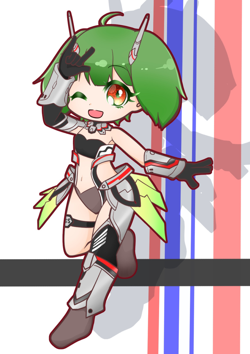 1girl :d bangs black_gloves chibi cosplay eyebrows_visible_through_hair gloves green_hair highres korona_ukiyo looking_at_viewer macross macross_frontier mecha_musume midriff_cutout navel one_eye_closed open_hand open_mouth ranka_lee shadow short_hair smile solo thigh_strap vf-25 vf-25_(cosplay)