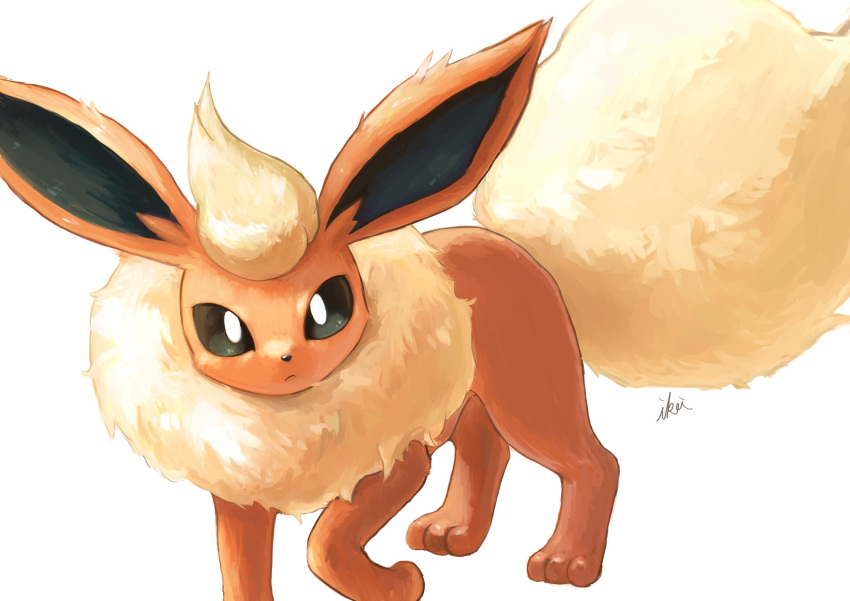 black_eyes bright_pupils closed_mouth flareon gen_1_pokemon highres ikei looking_at_viewer no_humans paws pokemon pokemon_(creature) signature solo standing symbol_commentary toes white_background