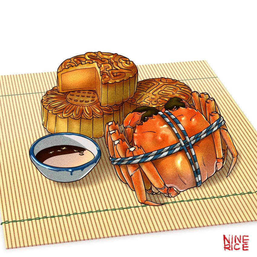 absurdres animal bound crab crustacean food food_focus highres jiumudao makisu mooncake no_humans original pastry saucer simple_background soy_sauce still_life tied_up