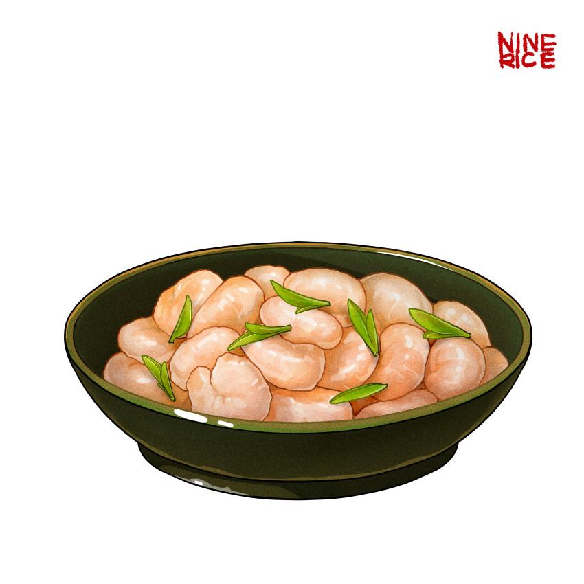 absurdres bowl english_text food food_focus highres jiumudao leaf no_humans original seafood shrimp simple_background vegetable white_background