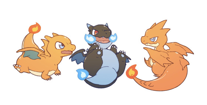 blue_fire charizard chibi claws commentary_request fangs fire flame gen_1_pokemon lying mega_charizard_x mega_charizard_y mega_pokemon meganemido no_humans on_back open_mouth pokemon pokemon_(creature) red_eyes simple_background tongue white_background