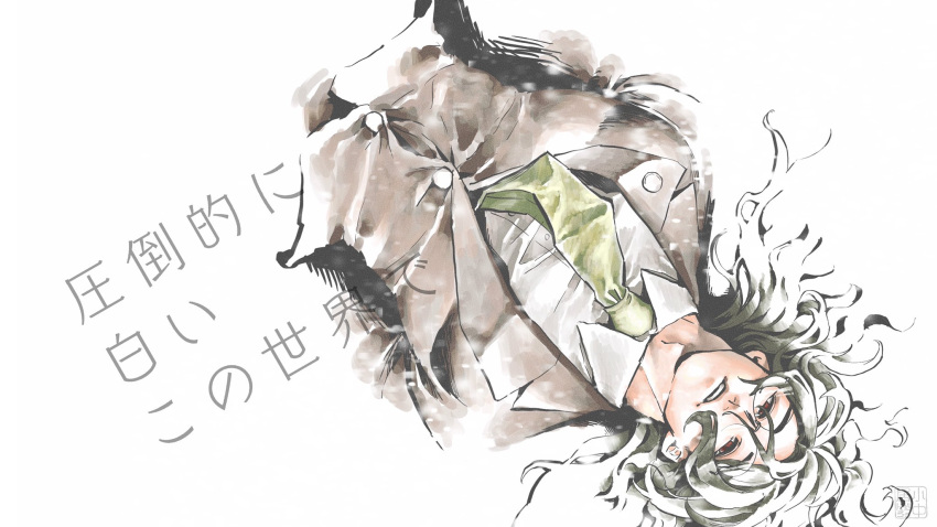 1boy bangs brown_jacket collared_shirt cropped_arms cropped_torso danganronpa_(series) danganronpa_v3:_killing_harmony glasses gokuhara_gonta green_neckwear highres jacket konakai long_hair looking_at_viewer looking_up lying male_focus necktie on_back open_mouth parted_lips red_eyes round_eyewear shirt solo translation_request upside-down white_shirt
