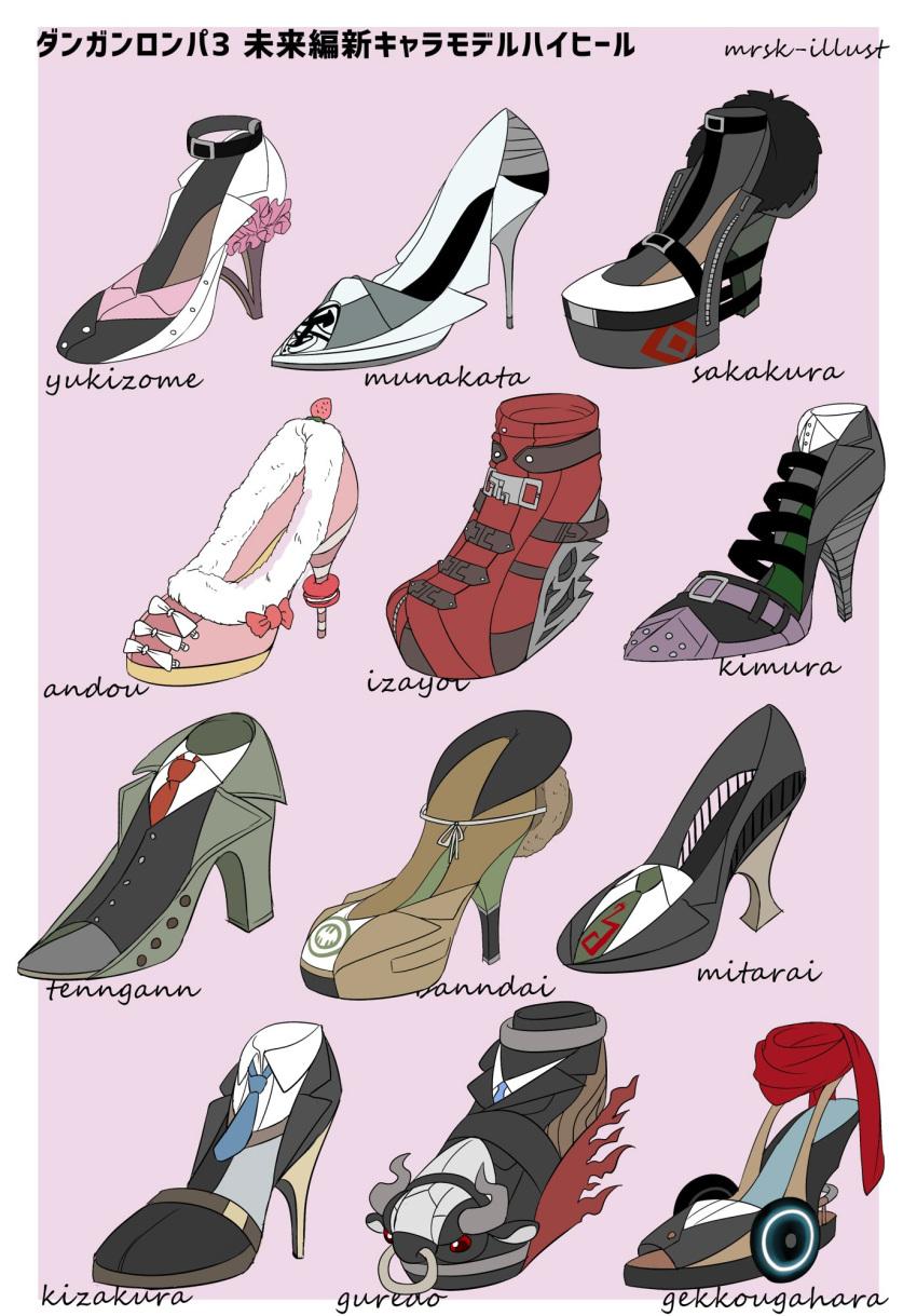 andou_ruruka bandai_daisaku black_choker black_vest blue_neckwear border bow brown_jacket character_name choker commentary_request danganronpa_(series) danganronpa_3_(anime) fake_horns frills fur_trim gekkougahara_miaya great_gozu green_neckwear grey_background high_heels highres horns izayoi_sounosuke jacket kimura_seiko kizakura_kouichi mitarai_ryouta munakata_kyousuke murasaki_(deceive138) necktie no_humans nose_piercing nose_ring piercing pigeon-toed red_scarf sakakura_juuzou scarf shoe_bow shoes tengan_kazuo translation_request vest white_border white_bow yukizome_chisa