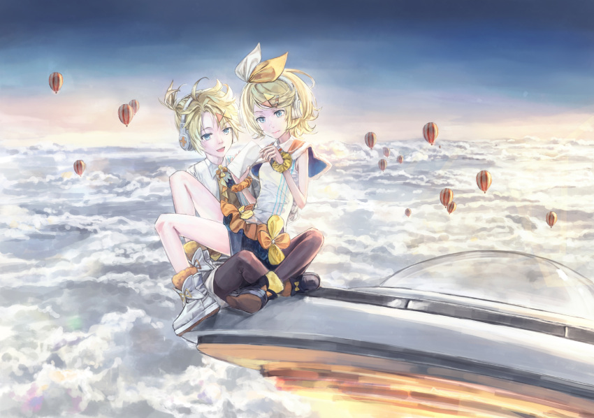 1boy 1girl 54cr above_clouds aircraft bangs blonde_hair blue_eyes boots bow capelet envelope flying_saucer fur-trimmed_boots fur-trimmed_capelet fur_trim hair_bow hair_ornament hairclip headphones highres holding holding_envelope hot_air_balloon kagamine_len kagamine_rin magical_mirai_(vocaloid) open_mouth shirt short_hair short_ponytail short_shorts shorts sitting sitting_on_lap sitting_on_person sky sleeveless sleeveless_shirt smile space_craft spiky_hair swept_bangs ufo vocaloid white_bow white_shirt wide_shot wind wrist_cuffs yellow_neckwear