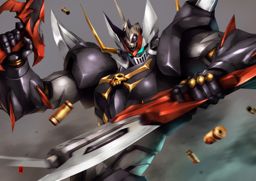 blue_eyes bullet clenched_hand dual_wielding glowing glowing_eyes gun harymachinegun highres holding holding_gun holding_weapon mazinkaiser mazinkaiser_skl mazinkaiser_skl_(mecha) mecha no_humans rifle science_fiction shell_casing skull super_robot v-fin visor weapon