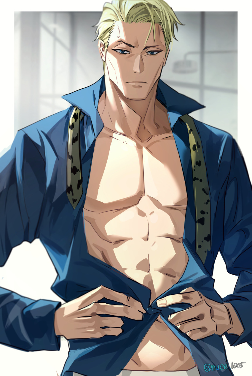 1boy abs absurdres bare_pecs blonde_hair blue_shirt closed_mouth collared_shirt formal highres jujutsu_kaisen long_sleeves looking_at_viewer male_focus nanami_kento necktie necktie_removed nuee_1005 open_clothes open_shirt panther_print raised_eyebrow shirt short_hair solo stomach toned toned_male upper_body