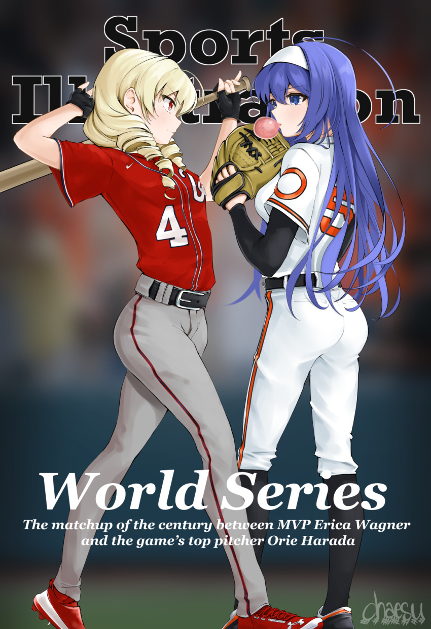 2girls arms_up baseball baseball_bat baseball_mitt belt black_gloves blonde_hair blue_eyes blue_hair bubble_blowing chaesu chewing_gum cover drill_hair english_text erika_wagner fake_magazine_cover fingerless_gloves full_body gloves grey_pants hairband highres long_hair long_sleeves magazine_cover multiple_boys multiple_girls orie_(under_night_in-birth) pants red_eyes red_footwear red_shirt shirt shoes short_over_long_sleeves short_sleeves signature sports_illustrated twin_drills under_night_in-birth white_hairband white_pants white_shirt