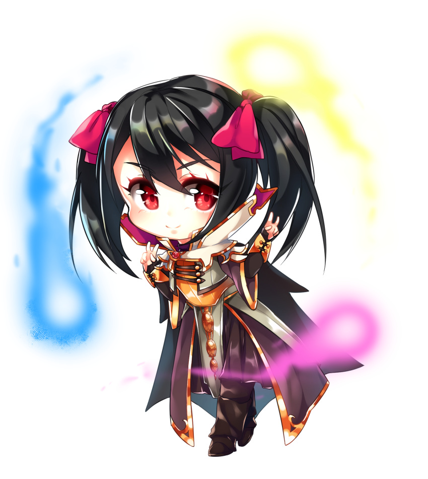 1girl bangs black_cape black_hair blush bow brown_pants cape chibi closed_mouth coat commission cosplay defense_of_the_ancients dota_2 double_v full_body hair_bow high_collar highres invoker_(dota) invoker_(dota)_(cosplay) long_hair love_live! love_live!_school_idol_project magic nechynn pants pink_bow red_eyes second-party_source shiny shiny_hair simple_background smile solo transparent_background twintails v white_coat yazawa_nico