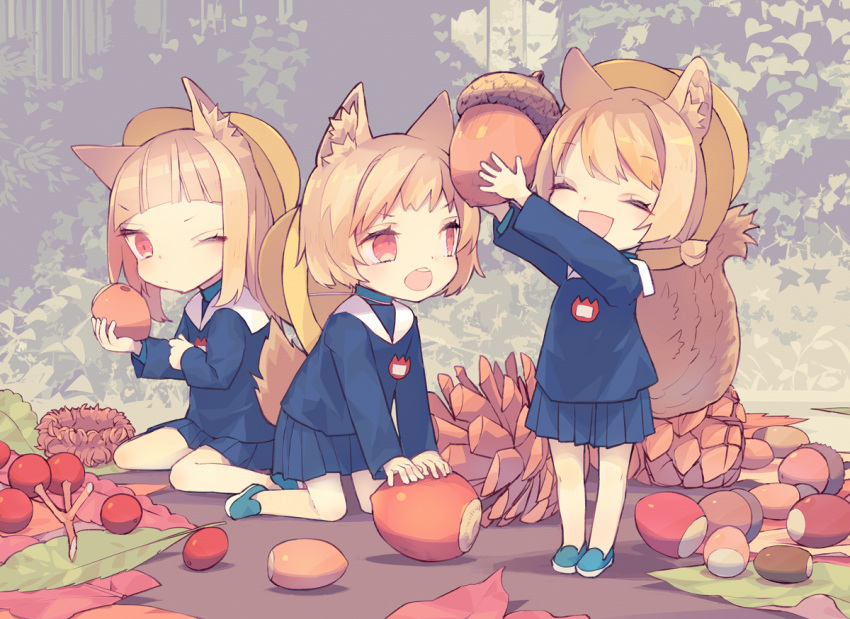 3girls :d ^_^ acorn animal_ear_fluff animal_ears berries blue_footwear blue_shirt blue_skirt blush brown_hair closed_eyes closed_mouth commentary_request hat hat_around_neck holding kneeling loafers minigirl multiple_girls one_eye_closed open_mouth original outstretched_arms pinecone pleated_skirt red_eyes sailor_collar saya_(sayaya) school_hat school_uniform serafuku shirt shoes sitting skirt smile standing tail wariza white_sailor_collar yellow_headwear
