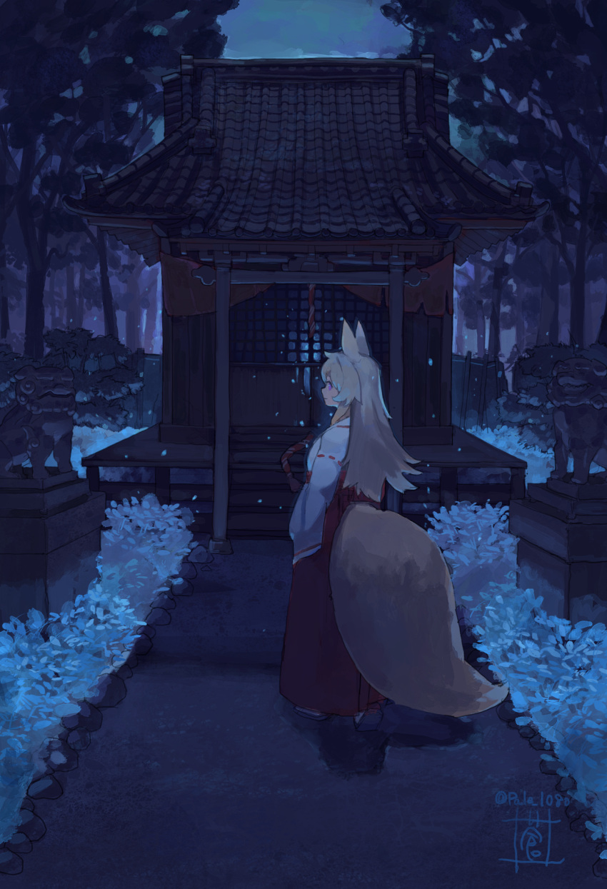 1girl animal_ears forest fox_ears fox_girl fox_tail full_body highres japanese_clothes miko nature night original outdoors scenery shrine sou_(pale_1080) standing statue tail