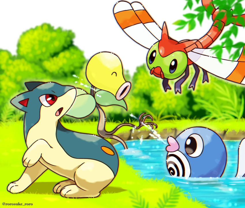 ^_^ artist_name bellsprout black_eyes blue_eyes bug bush chromatic_aberration closed_eyes closed_mouth commentary_request day dragonfly from_side full_body gen_1_pokemon gen_2_pokemon grass happy insect looking_at_another looking_up open_mouth outdoors outline partial_commentary pokemon pokemon_(creature) poliwag profile quilava red_eyes rorosuke sideways_mouth sitting soaking_feet squirting twitter_username water watermark yanma